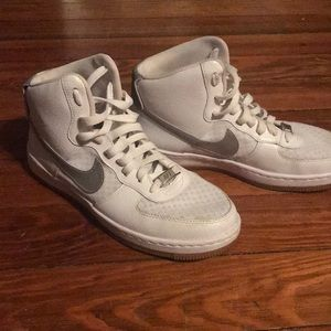 Nike white and silver Air force ones